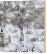 The Candle In The Snow Wood Print
