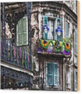 The French Quarter During Mardi Gras Wood Print