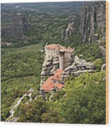 The Holy Monastery Of Rousanou Meteora Greece  Wood Print