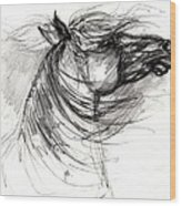 The Horse Sketch Wood Print