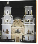 The Mission At Night Wood Print