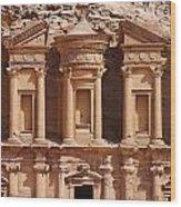 The Monastery At Petra In Jordan Wood Print