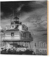 Thomas Point Shoal Lighthouse Black And White Wood Print