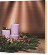 Three Candles In An Advent Flower Arrangement Wood Print