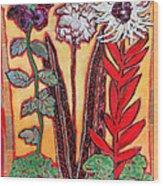 Three Flowers Wood Print by Diane Fine