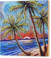 Three Palms On The Beach Wood Print