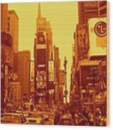 42nd Street And Times Square Manhattan Wood Print