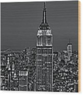 Top Of The Rock Bw Wood Print