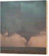 Tornado Over Fields Wood Print
