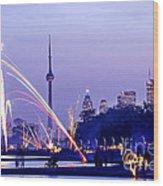 Toronto Fireworks Wood Print