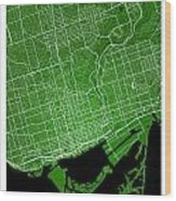 Toronto Street Map - Toronto Canada Road Map Art On Colored Back Wood Print