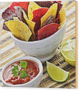 Tortilla Chips And Salsa Wood Print