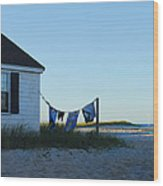 Towels On The Line Wood Print