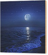 Tranquil Ocean At Night Against Starry Wood Print