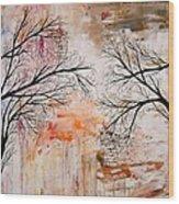 Tree Silhouette Painting Wood Print