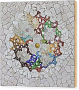 Trencadis Mosaic In Park Guell In Barcelona Wood Print