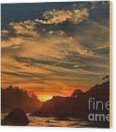Trinidad Beach Sunset Wood Print by Adam Jewell