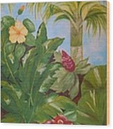 Tropical Garden Wood Print