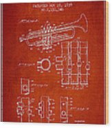 Trumpet Patent From 1939 - Red Wood Print