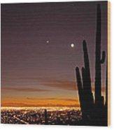 Tucson At Dusk Wood Print