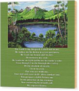 Twin Ponds And 23 Psalm On Green Wood Print