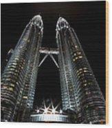 Twin Towers Petronas Kuala Lumpur Malaysia At Night Wood Print