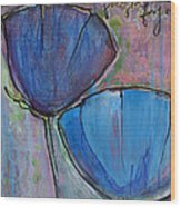 Two Blue Poppies Wood Print