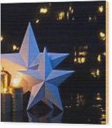 Two Stars With Gold Candles Wood Print