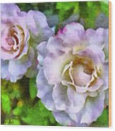 Two White Roses Wood Print