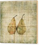 Two Yellow Pears On Folded Linen Wood Print