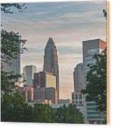 Uptown Charlotte North Carolina Cityscape Wood Print