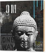 Urban Buddha  Wood Print by Linda Woods