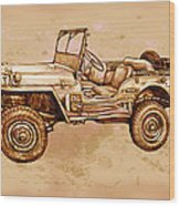 Us Army Jeep In World War 2 - Stylised Modern Drawing Art Sketch Wood Print