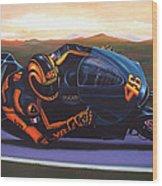 Valentino Rossi On Ducati Wood Print