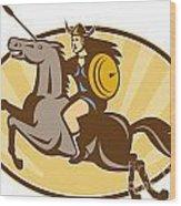 Valkyrie Riding Horse Retro Wood Print