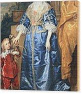 Van Dyck's Queen Henrietta Maria With Sir Jeffrey Hudson Wood Print
