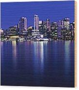 Vancouver Skyline At Night, British Wood Print