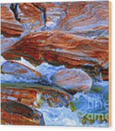 Vibrant Colored Rocks Verzasca Valley Switzerland  Wood Print