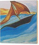 Viking Sailboat Wood Print by Debbie Nester