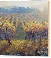 Vineyard Sunset Wood Print