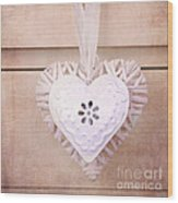 Vintage Hearts With Texture Wood Print