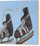 Vintage Pair Of Mens  Skates  Wood Print by Mikhail Olykaynen