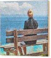 Sitting Alone Wood Print