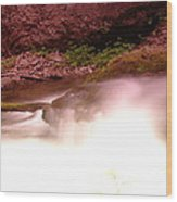 Water Over Rock  Wood Print