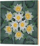 Waterlily Mandala Wood Print