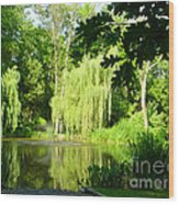 Weeping Willow Pond Wood Print