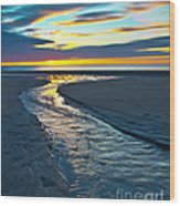 Wells Beach Maine Sunrise Wood Print