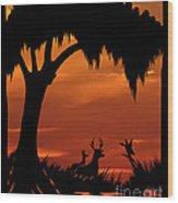 Wetland Wildlife - Sunset Sky Wood Print