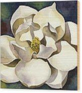 White Magnolia With Blues Wood Print