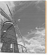Windmill In The Sky In Black And White Wood Print